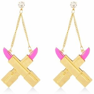 Lipstick Drop Chain Acrylic Earrings Metallic Gold